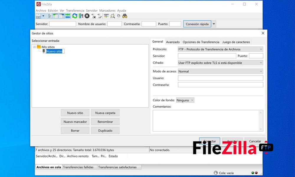 agregar sitio ftp a filezilla