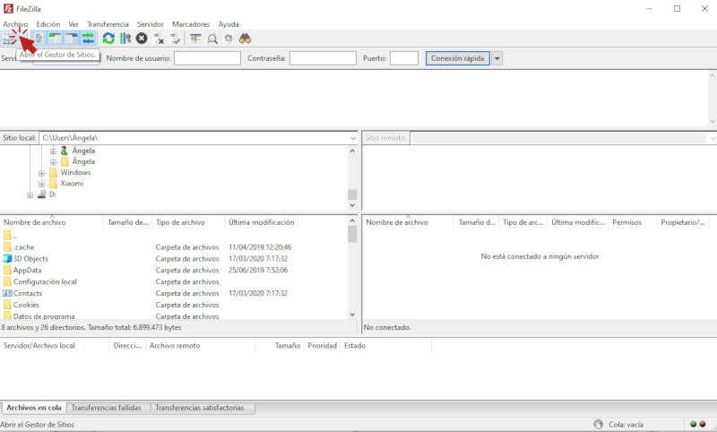 Configuración FileZilla conectar con ftp