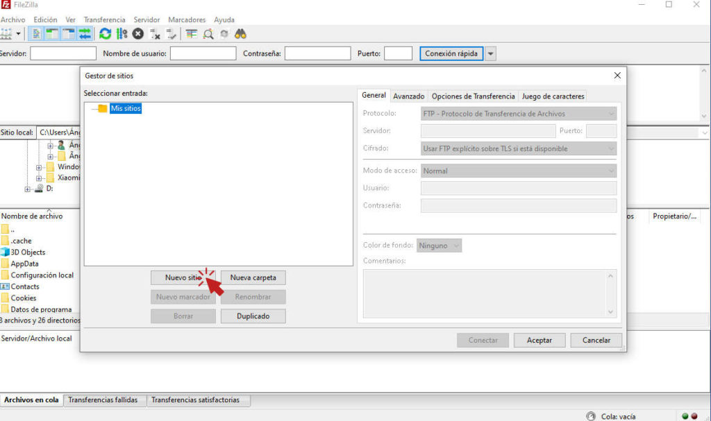 Configuración FileZilla nuevo sitio ftp