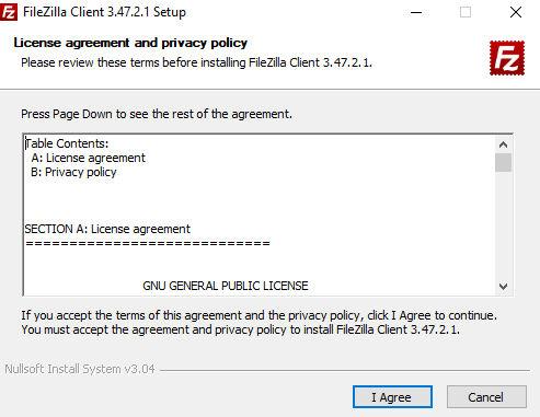 Instalación FileZilla Acuerdo de Licencia