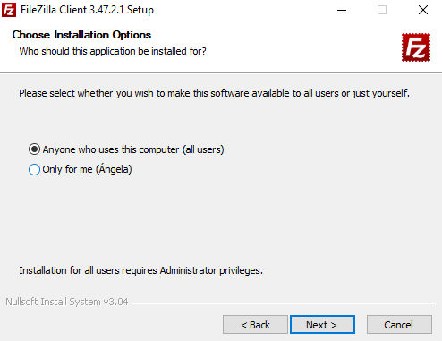 Instalación FileZilla Opciones de Instalación