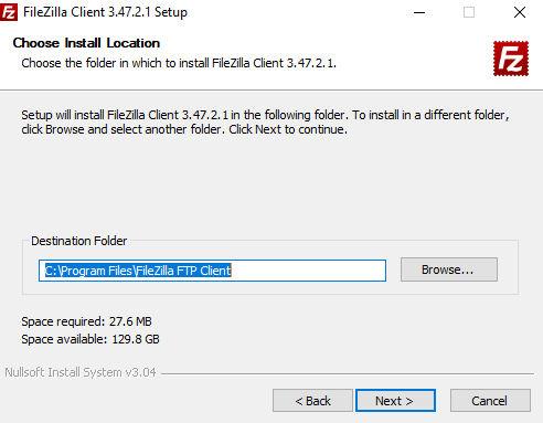 Instalación FileZilla ubicación archivos