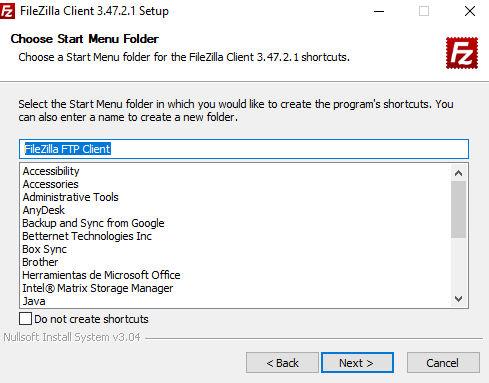 Instalación FileZilla menú inicio