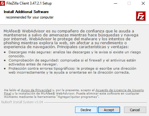 Instalación FileZilla software adicional