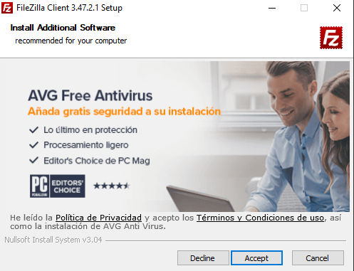 Instalación FileZilla instalar software adicional