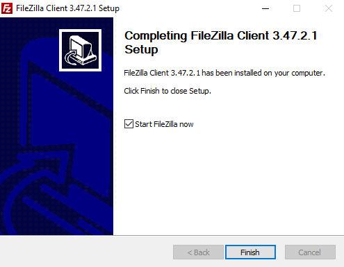 Instalación FileZilla finalizar instalación